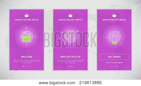Modern vector flat line mobile app design set of grocery delivery services. Onboarding screens for grocery delivery service online