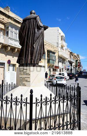 VICTORIA, GOZO, MALTA - APRIL 3, 2017 - Statue in honour of Mgr Luigi Vella in Savina Square Victoria (Rabat) Gozo Malta Europe, April 3, 2017.