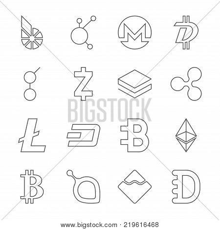 Set of crypto currency logo coins: BitShares BitConnect Monero DigiByte Golem Zcash Stratis Ripple Litecoin Dash Bytecoin Ethereum Bitcoin Siacoin Nem Dogecoin Editable Stroke EPS 10
