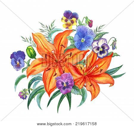 Bouquet of orange lilies and pansies, watercolor drawing isolated on white background.