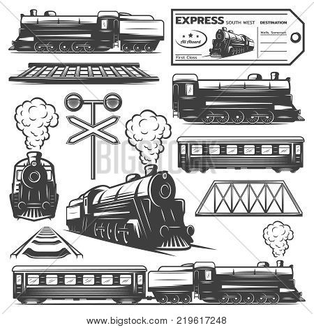 Vintage monochrome locomotive elements collection with train wagons railroad ticket traffic light isolated vector illustration