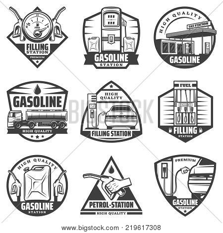 Vintage monochrome petrol station labels set with fuel gauge pump nozzles car refilling canister truck transporting gasoline isolated vector illustration