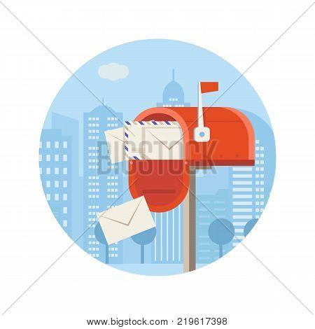 Getting mail vector icon. Mailbox full of envelopes illustration in flat design.City postal service concept with opened postbox. Red letterbox with correspondence.