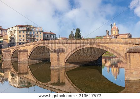 Bridge Ponte alla Carraia over Arno river in Florence Italy