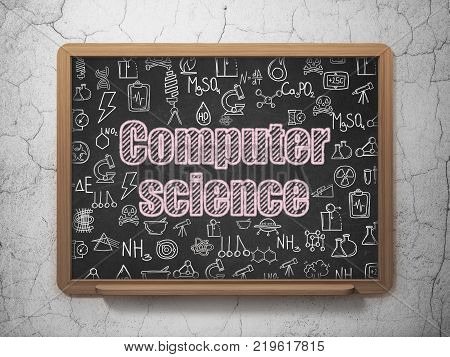 Science concept: Chalk Pink text Computer Science on School board background with  Hand Drawn Science Icons, 3D Rendering