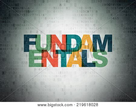 Science concept: Painted multicolor text Fundamentals on Digital Data Paper background