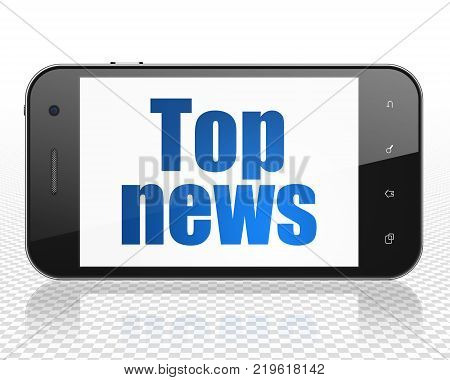 News concept: Smartphone with blue text Top News on display, 3D rendering