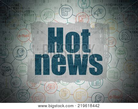News concept: Painted blue text Hot News on Digital Data Paper background with  Scheme Of Hand Drawn News Icons