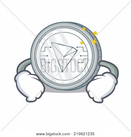 Hand on waist Tron coin character cartoon vector illustration