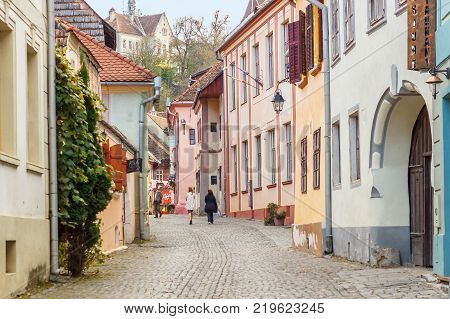 Street View Of Sighisoara With Colorful Little Houses
