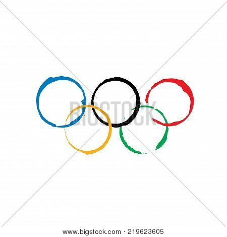 sign of the Olympic rings. Vector illustration. Sport