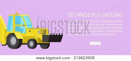 Technology digging equipment web banner with text information vector illustration. Machinery industrial digger bulldozer transport