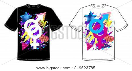 Vector print for t-shirt with bright Pride lgbt rainbow color male and female symbo.
