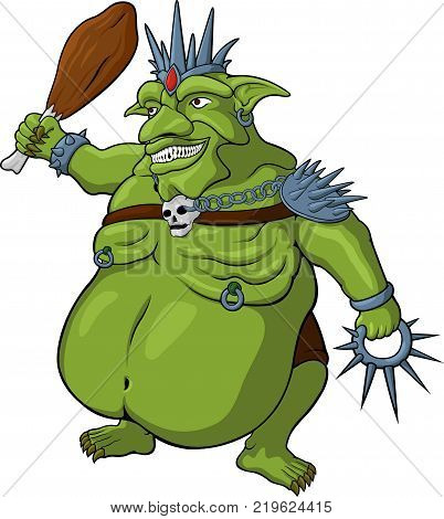 Vector cartoon king of goblins on white background