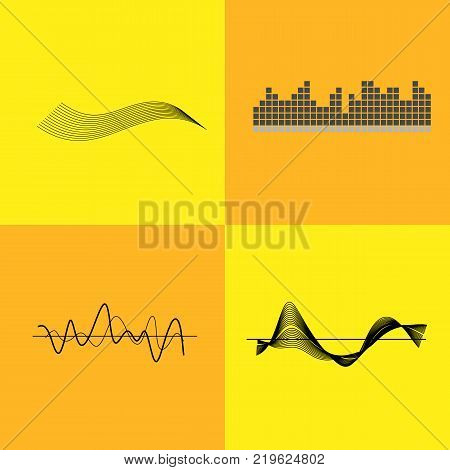 Equalizer interface pictured with grids with graph, lines and waves. Vector illustration with icons of music pulse detector isolated on yellow background