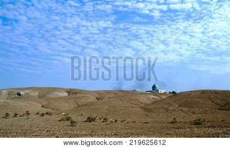 Landscape with the Mosque on the place of the prophet Abraham birth at Borsippa Babil Iraq