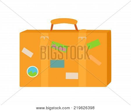 Traveler suitcase. Flat style vector. Classic leather handbag with stickers from various countries. Illustration for travel and touristic concepts, travel companies ad. Baggage for journey. On white