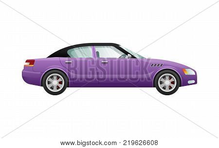 Transport. Picture of isolated violet automobile. Classical mean of transportation with shifted black roof. Contemporary four-wheeled automobile in cartoon style. Four doors. Flat design. Vector