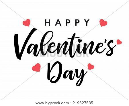 Lettering Happy Valentines Day banner black. Valentines Day greeting card template with typography text happy valentine`s day and pink hearts on background. Vector illustration