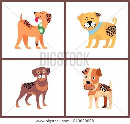 Adorable small puppies with happy excited faces. Weimaraner in neckerchief, plump bullmastiff, cute rottweiler and boxer puppy vector illustrations.