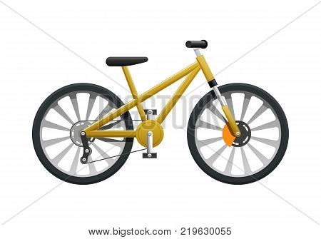Transport. Picture of isolated contemporary yellow bicycle. Fast two-wheeled mean of transportation in flat cartoon design. Helm, seat and circle in black frame. Closed strong chains. Vector
