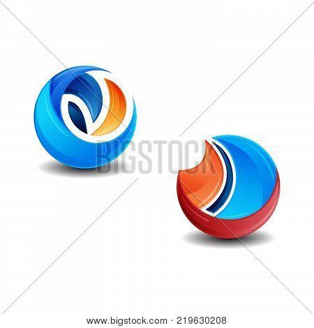 Set of 3d logo vector illustration template, technology logo vector, creative abstract 3D style logo