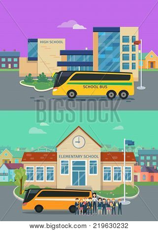 Elementary and high school concepts. Modern school buildings with bus and teacher with pupils on school yard flat vector illustrations. Primary education. Learning in good school. Teaching children