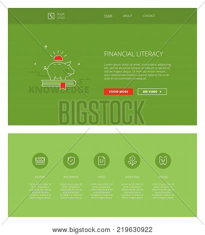 Minimal design web template with header and five icons for financial literacy courses landing pages, sites and apps. White outline minimal illustrations of personal finance management