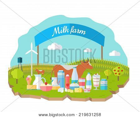 Milk farm concept banner vector flat design. Organic farming, traditional products. Clean naturally produced food. Dairy products with cow, field, fence, garden on background. Milk farm poster