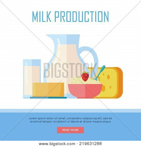 Milk production banner. Different traditional dairy products from milk on white background. Milk, curd, cheese and yogurt. Assortment of dairy products. Farm food. Dairy website template.