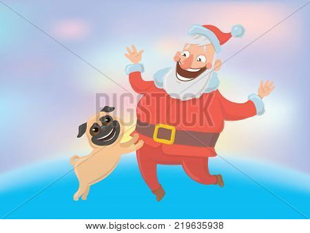 Happy laughing Santa Claus playing with dog. New year and Christmas cards for year of the dog according to the Eastern calendar. Vector Characters Illustration on glowing colourful background.