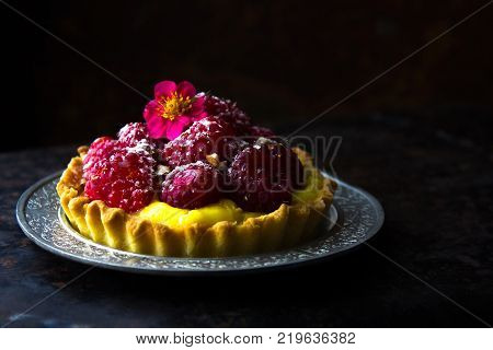 Home Made Tartlets With Raspberries. Home Made Tartlets With Raspberries.home Made Tartlets With Ras