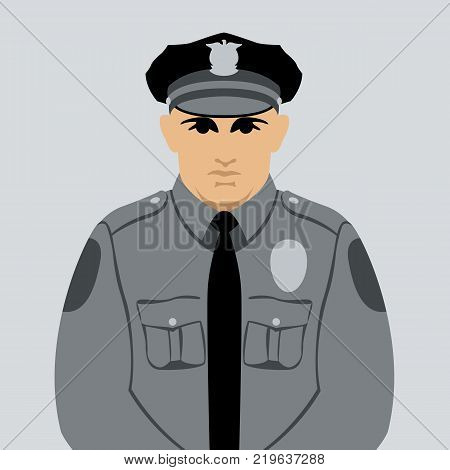 cop face head vector illustration flat style front view