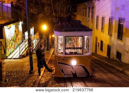 Lisbon Tram And Funicular Network At Night