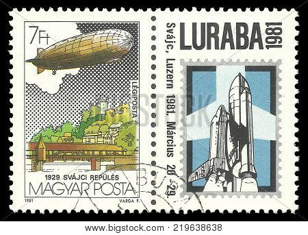 Hungary - circa 1981: Coupling Stamps printed by Hungary Color edition on Aeronautics shows Luzern and first flight across Switzerland circa 1981