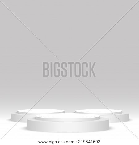 White round podium. Pedestal, scene. Vector illustration on grey
