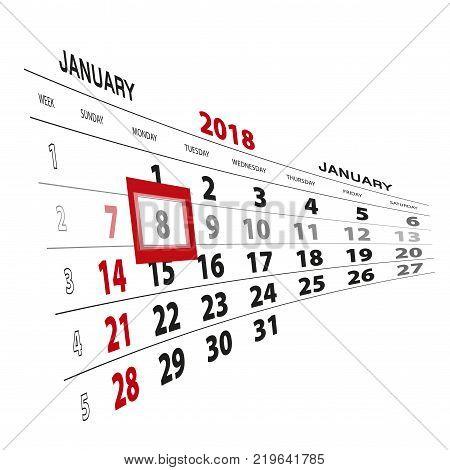 January 8 highlighted on 2018 calendar. Week starts from Sunday. Vector Illustration.