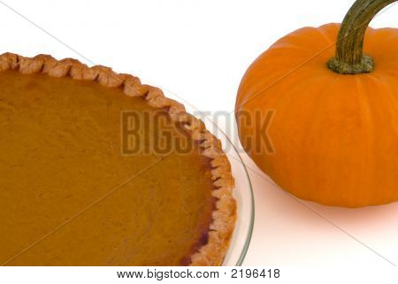 Pumpkin Pie And Pumpkin Isolated On White