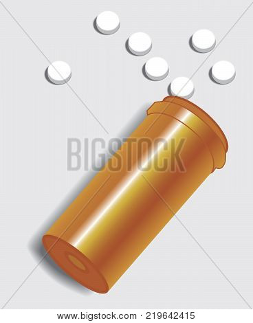 Open bottle of pills is lying on it's side with pills spilled out