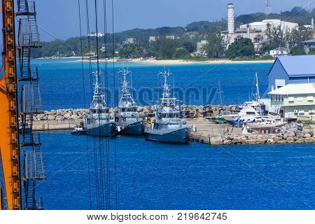 Naval ships docked in the freight harbor on Barbados