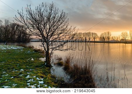 Bare tree silhouette at the bank of a lake during sunset. It is winter some snow has fallen and a very thin layer of ice is on the water surface near the banks.