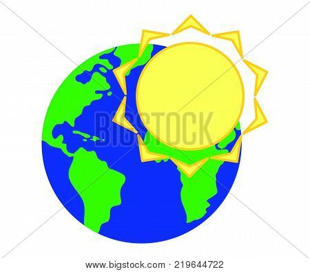 Emblem of the Sun against the background of the planet Earth.