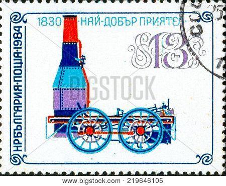 Ukraine - circa 2017: A postage stamp printed in Bulgaria shows drawing Locomotive Best Friend 1830. Series: Old steam locomotives. Circa 1984.