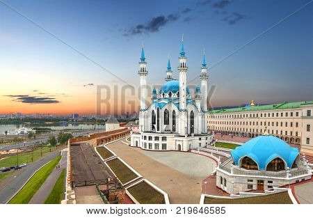 Qolsharif Kul Sharif Mosque in the Kazan Kremlin on sunset background. Tatarstan, Russia