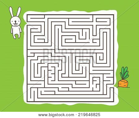 Maze game for children: Help rabbit get to the carrot