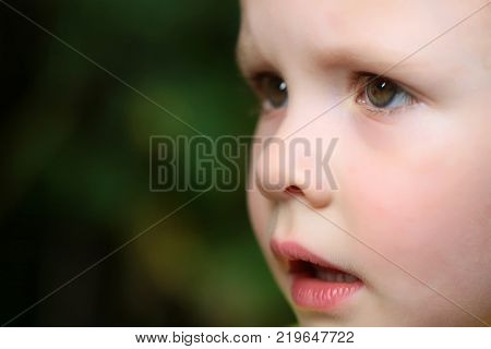 Face of cute baby girl or boy on blurred natural background. Child childhood family. Innocence purity infancy future concept copy space