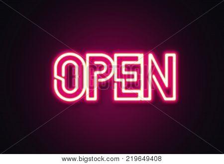 Open neon text. Open sign. Illustration stock.