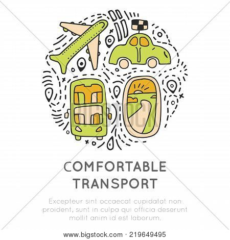 Travel transport icon collection. Travelling transportation icons concept in round form with decorative elements. Traveling icon about transports - airplane, car, bus, taxi. Transport icon set in travel, cartoon vector elements