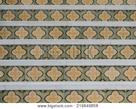 Tile Pattern on Risers of Outdoor Staircase