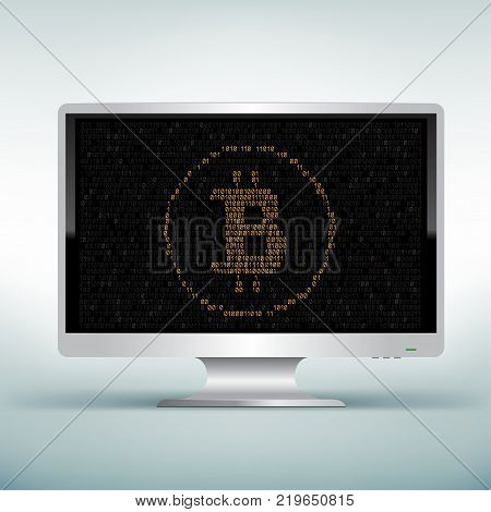 Crypto currency bitcoin display on white monitor on light blue background. Black screen with golden crypto coin. E-commerce business financial technology. Mining virtual electronic money